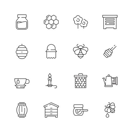 Honey symbols. Apiary icons flowers honeybee liquid drops jar vector natural healthy products pictograms. Illustration honeybee and honeycomb, honey sweet and apiculture Ilustração
