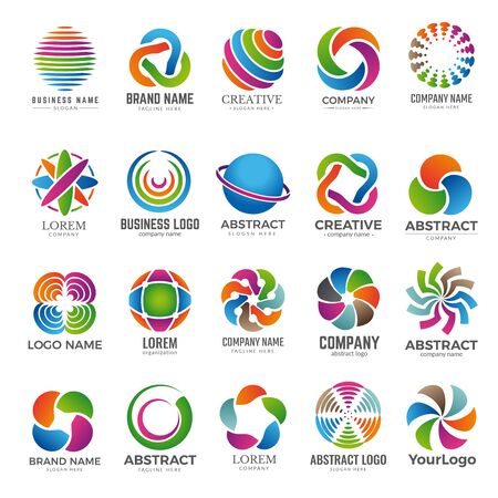 Business globe logo. Advertising abstract round colored shapes graph colored circle elements travel company world vector globe. Logotype for business colorful, emblem identity advertising illustration