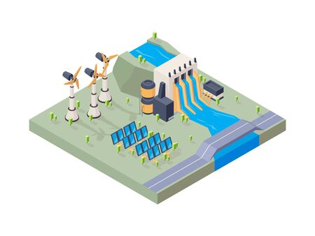 Hydropower factory. Solar plant water eco industry geothermal energy vector isometric concept. Illustration eco isometric solar energy Reklamní fotografie - 134975933