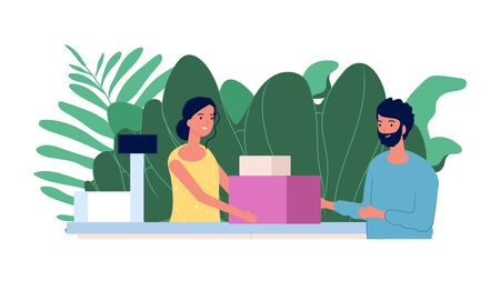 Customer and cashier. Shopping concept. Flat man makes purchases at checkout. Smiling cashier girl, store vector illustration. Woman cashier in store, customer with purchase