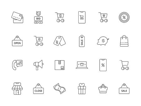 Market online icon. E commerce business purchasing app payments price basket promo coupon vector line pictures. Shop icons commercial, illustration outline cart and purchase 向量圖像