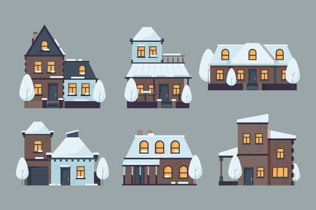 Winter houses. Cute buildings with season snow caps frozen urban architecture cold city vector flat collection. Set of houses with cap of snow landscape illustration