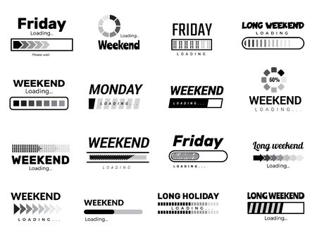 Loading week bar. Business ui interface web template quote pictures lazy week days vector funny pictures. Download ui, downloading motivation waiting holiday illustration Vettoriali