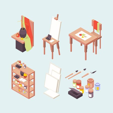 Art studio. Professional artists designers creators items easels brushes paints podium working place vector isometric. Professional art studio, paint isometric school illustration