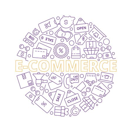 E-commerce. Online retail products business purchase web price sale symbols in circle shape vector background. Discount price retail icons, promotion and sale illustration