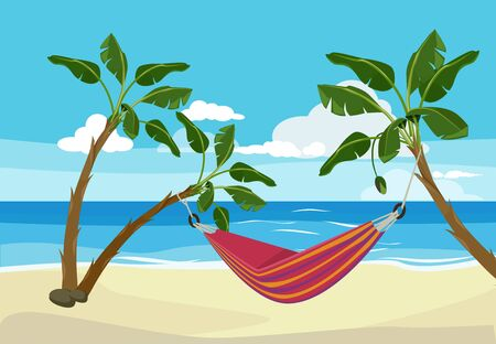 Hammock beach. Tropical background rest place between palm trees outdoor exotic sunset vector cartoon. Hammock beach on sea coast illustration