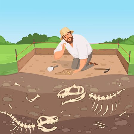 Archaeology character. Man discovery underground geology digging dinosaur bones in soil layers history landscape vector background. Illustration excavation archaeological, discovery archeology