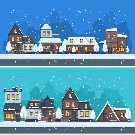 Città invernale di neve. Il paesaggio urbano con la stagione natalizia ospita il paesaggio di vettore degli edifici per le vacanze. Illustrazione strada casa urbana, strada stagionale invernale