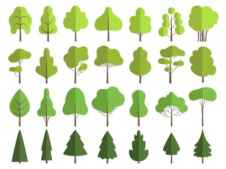 Flat green trees. Nature plants clean shaping forms vector collection isolated. Illustration tree and plant green, nature environment
