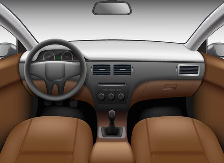 Autosalon. Auto-interieur sjabloon met lederen stoelen en wiel gekleurd dashboard spiegel vector realistisch beeld. Illustratie interieur auto, autopaneel dashboard