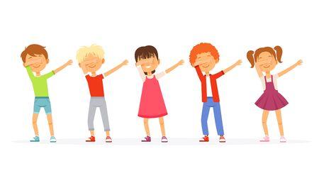 Dabbing. Kids dancing and posing school teenager groups young americans moving vector dabbing characters. Illustration dab character dancer, dancing dabbing performing Archivio Fotografico - 134949408