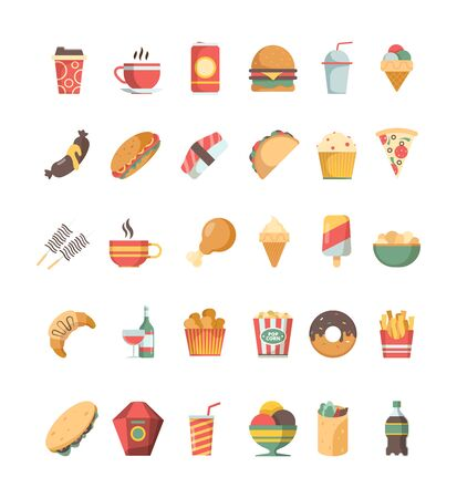 Fast food icon. Junk food trash unhealthy products burger hotdog drinks pizza barbecue fried crispy vector symbols. Drink and food, burger and donut illustration Foto de archivo - 134950275