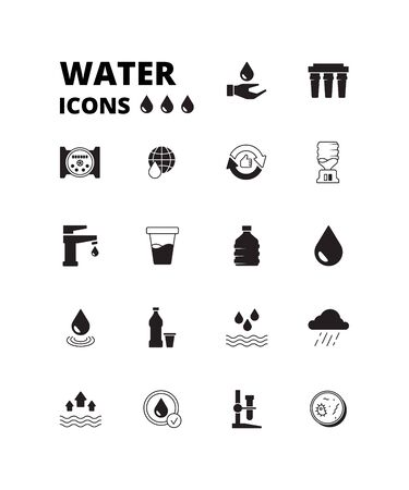 Water drops icon. Refreshing liquids recycling rain plastic bottles with fresh drinks splashes cooler vector symbols set. Illustration liquid water, purified and clean aqua Illustration