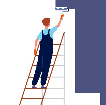 Worker painting wall. Home repair service man in special professional costume standing on ladder and painting renovation house room vector. Illustration worker paint wall, work handyman Ilustração