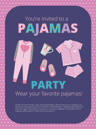 Pajama party poster. Invitation for night party kids and parents nightwear casual clothes great bed party vector. Illustration pajama party, night sleep headline in nightdress