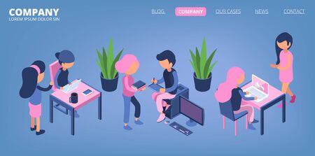 Business people landing. Managers, office male and female isometric characters. Business communication, teamwork vector banner. Business people man and woman at workplace illustration