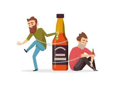 Accro à l'alcool. Hommes ivres, illustration vectorielle d'abus d'alcool. Notion d'alcoolisme. Abus d'alcool, alcoolique, addiction ivre