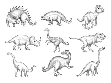 Dinosaurs collection. Extinction wild herbivorous angry animals in paleontology ages vector sketch drawn pictures. Sketch herbivorous and prehistoric reptile illustration