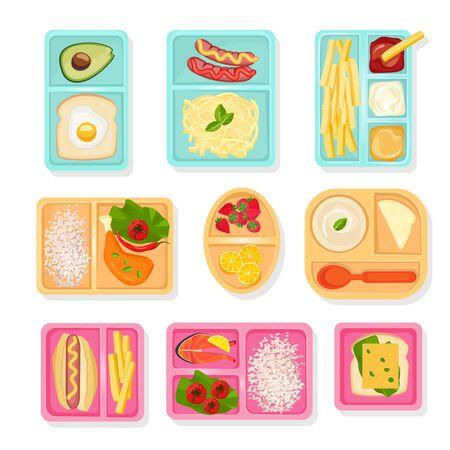 Vue de dessus de la nourriture scolaire. Boîtes à lunch pour enfants trier les cas pour les produits boissons collations pizza fruits et légumes images vectorielles. Boîte à lunch, collation et nourriture dans l'illustration du conteneur Vecteurs