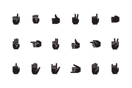 Gestures symbols. Human hands palm fingers zero one devil sign victory like gestures vector collection. Illustration human pointing and palm hand