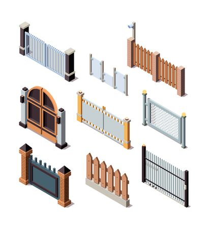 Construction fences. Garden door gate metals or wooden panels railing fences vector isometric. Illustration barrier and border for protection fence