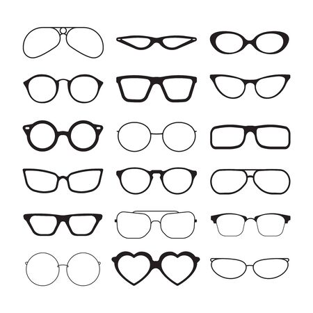 Sunlight glasses. Fashioned glasses black plastic frames retro models sun protection cool eye vision vector silhouettes. Illustration protection vision fashioned, plastic frame eyeglasses