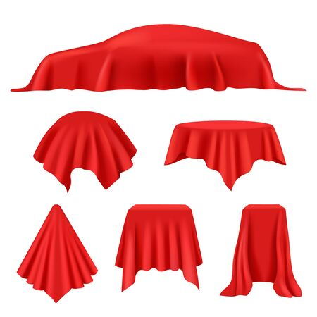 Red silk covered. Revealer cloth realistic exhibition curtains royal cover studio display vector collection. Presentation red fabric satin, advertising and surprise opening illustration Illusztráció
