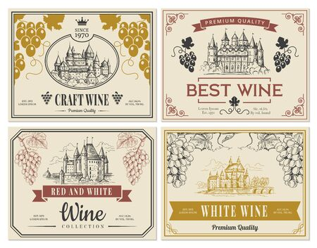 Wine labels. Vintage images for labels old medieval castles and towers architectural objects vector template. Illustration wine sticker vintage traditional