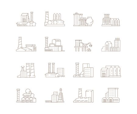 Factory symbols. Industrial city smoke pipe energy production buildings steam clouds vector icon set. Factory building with pipe, production power and energy illustration Reklamní fotografie - 134976088
