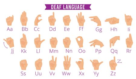 Deaf hands language. Disabled person gesture hands holding pointing fingers palms vector alphabet for deaf people. Illustration gesture hand speak language, nonverbal abc signal Archivio Fotografico - 134955405