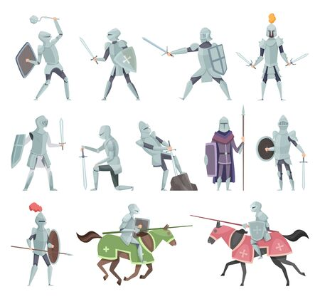 Knights. Medieval battle armor characters crusaders historical battle mascots vector cartoon. Horseman and sword, mace and shield illustration