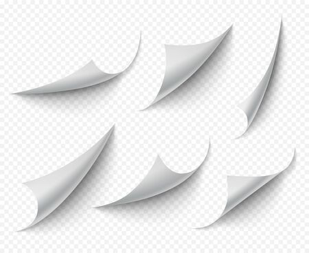 Curled corners. White transparent empty curve pages vector realistic template. Paper note twisted angle, curl page template illustration