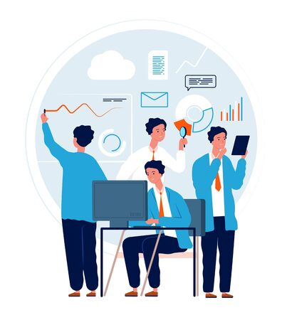 Multitask concept. Businessman making different deals and goals busy manager in action urgent tasks vector characters. Multitasking busy work person, illustration job multi task Illustration