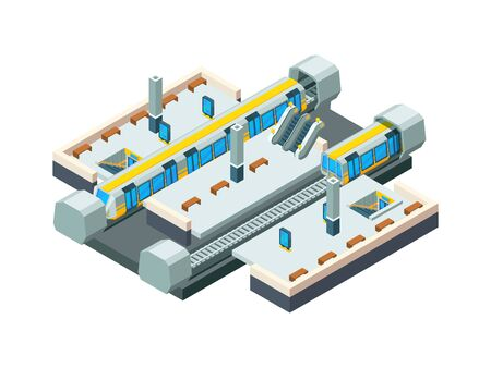 City metro station. Urban subway tunnel with railway train vector isometric low poly station background. Train and metro city, station subway illustration