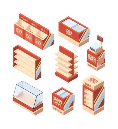 Grocery shop furniture. Store fridge shelves cash register shopping cart vector isometric supermarket tools. Illustration commercial fridge for shopping, freezer supermarket Ilustracja