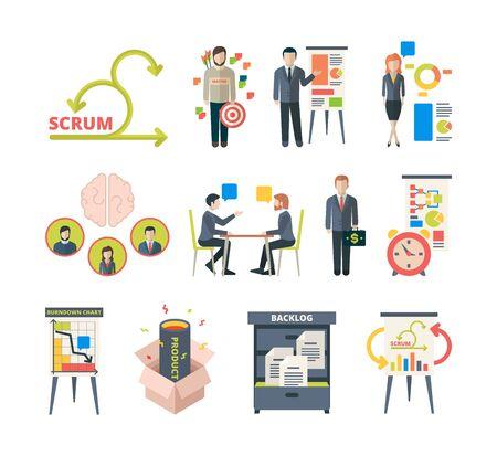 Scrum methodology. Project visualization in retrospective agile software collaboration meetings business work vector colored pictures. Illustration teamwork methodology, development process Reklamní fotografie - 134957097
