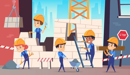 Little builders. Boys funny making professional job construction helmet vector background. Builder worker professional, character person foreman illustration  イラスト・ベクター素材