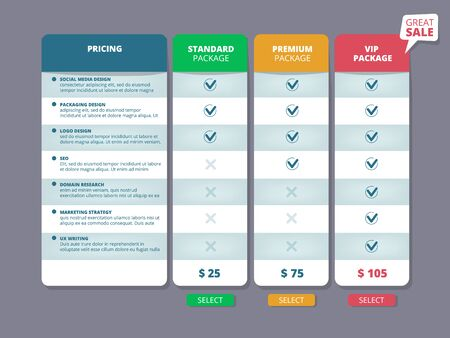 Tariff plans. Web ui template offers columns charts selection pricing discount service comparison vector. Illustration price plan, template web table