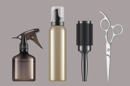 Hairdressing tools. Haircut hairstylist barbershop items hair dryer scissors shaving machine vector realistic. Illustration equipment haircut, comb and brush