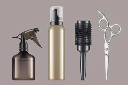 Outils de coiffure. Coupe de cheveux coiffeur salon de coiffure articles sèche-cheveux ciseaux rasage machine vecteur réaliste. Équipement d'illustration coupe de cheveux, peigne et brosse
