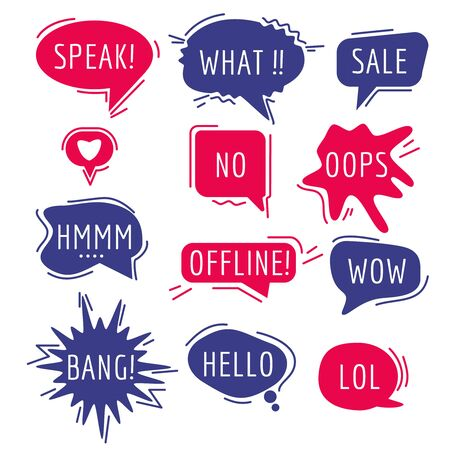 Speech bubbles text. Thinking words and phrase sound humor sticker communication tags speaking expression comic vector cartoon bubbles. Illustration cloud humor communication, bubble and balloon Vektorové ilustrace