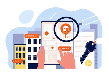 Immobiliensuche. Häuser mieten die Anzeige auf dem Bildschirm der mobilen Geräte-App-Suche nach Hausvektorkonzept isometrisch. Haussuchverkauf, Immobilienillustration