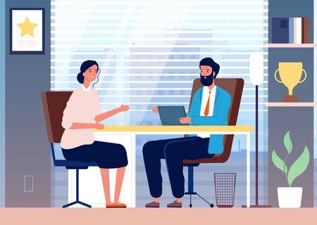 Wywiad z kobietą. Kobieta biznes dziewczyna zatrudnienia rekrutacji w biurze szef siedzi wektor znak. Ilustracja szefa w biurze i pracownica