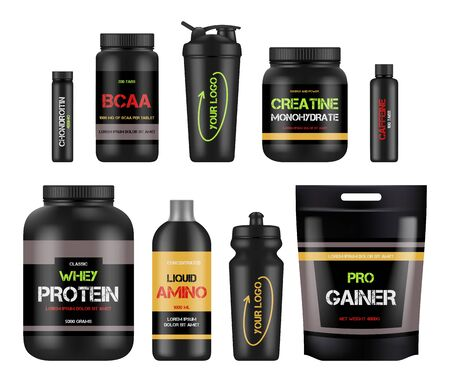 Sport nutrition labels. Protein and amino bcaa fitness vitamin design packages for healthy powerful products vector. Illustration bcaa and protein nutrition, supplement to fitness and sport Vettoriali