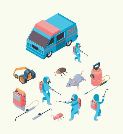 Ongedierte onderzoek. Insecten dezinfection service chemisch gif voor ongediertebestrijding knaagdieren uitroeiing vector isometrische set. Controle service ongedierte, desinfectie professionele illustratie