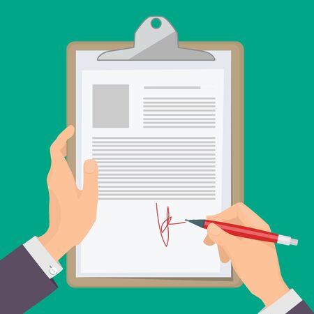 Documentos de firma. Mano de la persona de negocios sosteniendo la pluma y escribiendo documentos en concepto de ilustración de vector de papel. Papel de documento de firma, pluma y contrato.