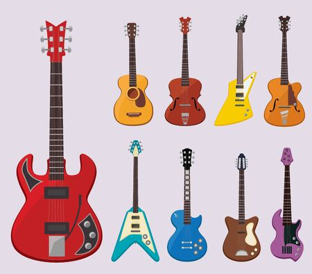 Musical guitar. Live concert instruments sound plays various objects classical guitars vector illustrations. Instrument electric and acoustic guitar, musical sound Illustration