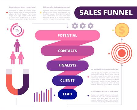 Business funnel. Purchase symbols marketing generation and conversion leads vector funnel sales. Illustration marketing lead and funnel for purchase