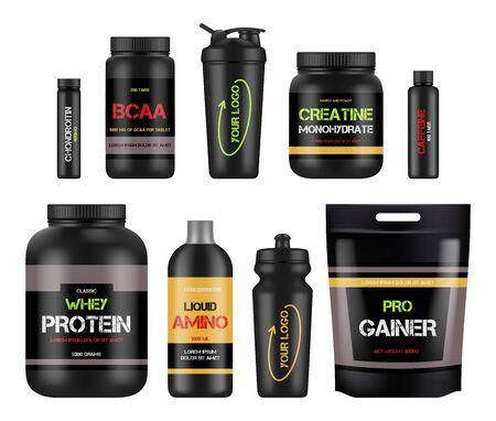 Etichette nutrizionali per lo sport. Pacchetti di design vitaminico per il fitness di proteine e amino bcaa per prodotti sani e potenti Illustrazione bcaa e nutrizione proteica, supplemento al fitness e allo sport