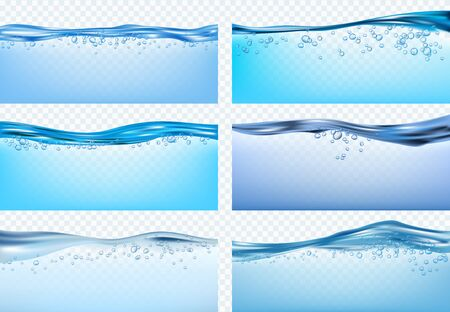 Water waves. Blue flowing realistic waves splashes fresh liquid products drinks raindrops vector. Wave blue liquid sea, transparent freshwater illustration